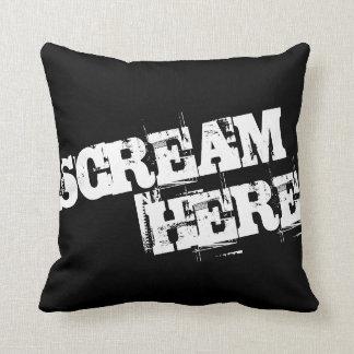 Scream Here   Grunge Style Throw Pillow