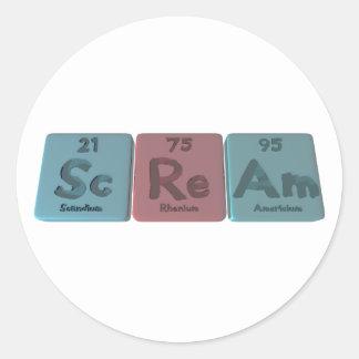 Scream-Sc-Re-Am-Scandium-Rhenium-Americium png Etiqueta