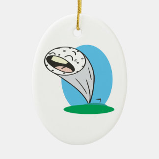 Screamer Double-Sided Oval Ceramic Christmas Ornament
