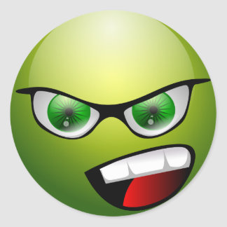 Screamin' Green Meanie Classic Round Sticker