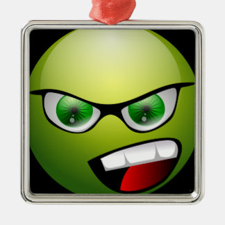 Screamin' Green Meanie Square Metal Christmas Ornament