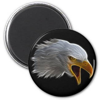 Screaming American Bald Eagle Head 2 Inch Round Magnet