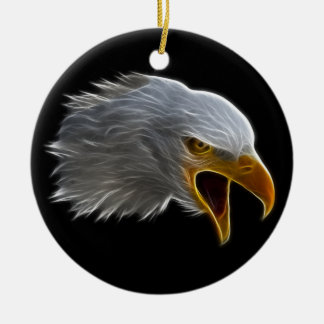 Screaming American Bald Eagle Head Ceramic Ornament