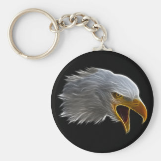 Screaming American Bald Eagle Head Keychain