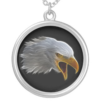 Screaming American Bald Eagle Head Round Pendant Necklace