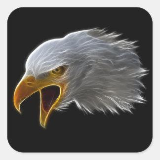 Screaming American Bald Eagle Head Square Sticker