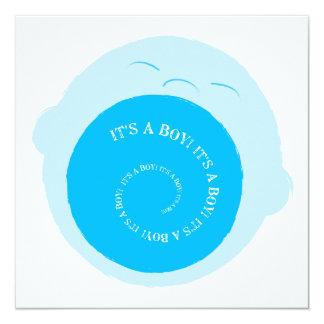 Screaming baby boy announcement card