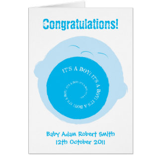 Screaming baby boy- new baby card to customise