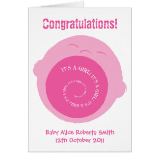 Screaming baby girl- new baby card to customise