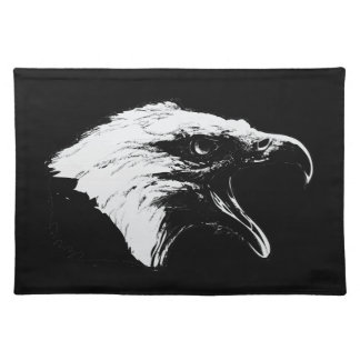 Screaming Bald Eagle in Black Pick Your Background Cloth Placemat