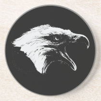 Screaming Bald Eagle in Black Pick Your Background Drink Coaster