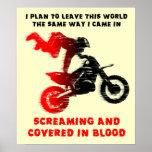 Screaming Blood Dirt Bike Motocross Print Poster