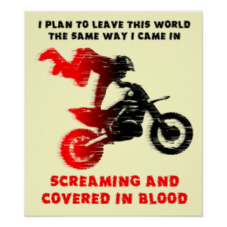 Screaming Blood Dirt Bike Motocross Print Poster