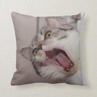 Screaming British Shorthair Throw Pillow
