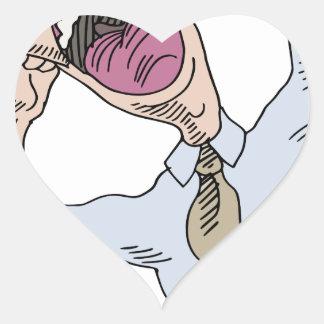 Screaming Business Man Cartoon Heart Sticker