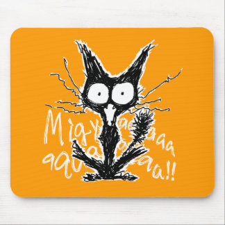 Screaming cat mouse pad