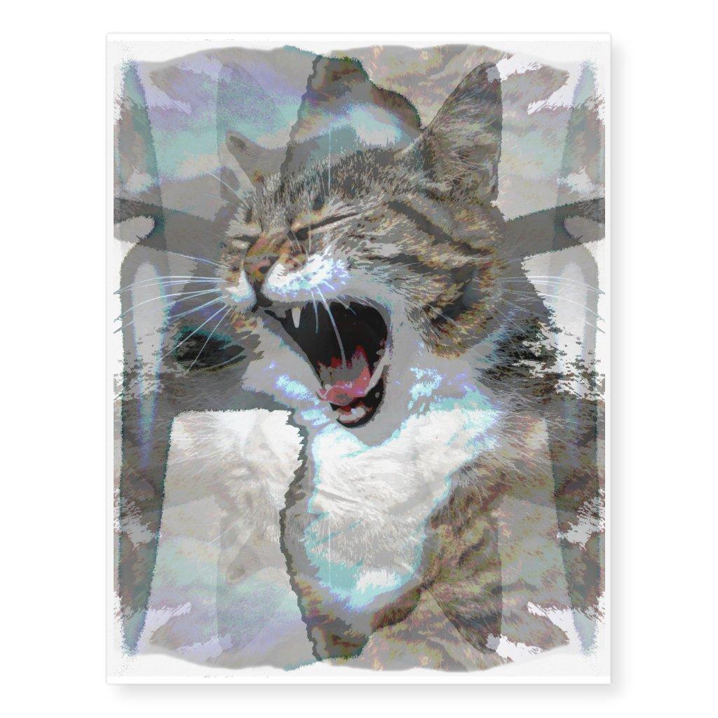 Screaming Cat Tattoo