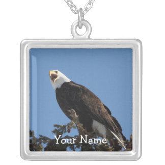 Screaming Eagle; Customizable Square Pendant Necklace