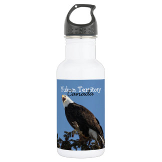 Screaming Eagle; Yukon Territory Souvenir Stainless Steel Water Bottle