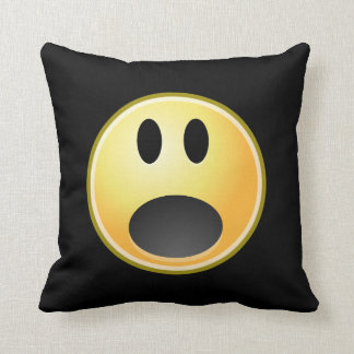 Screaming Emoticon Throw Pillow