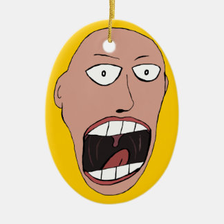 Screaming Face Double-Sided Oval Ceramic Christmas Ornament
