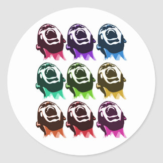 Screaming faces classic round sticker