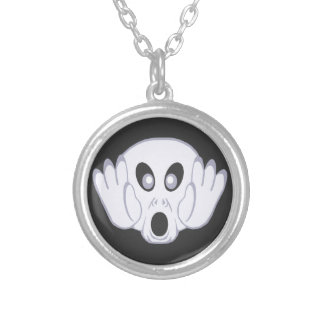 Screaming Ghost Face Round Pendant Necklace