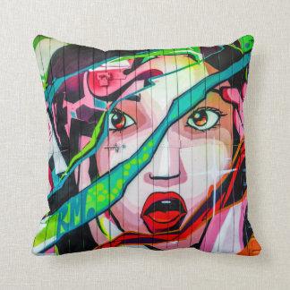 Screaming Girl Colorful Graffiti Pillow
