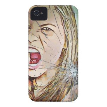 screaming,girl,girls,screaming girl, broken glass Case-Mate iPhone 4 case
