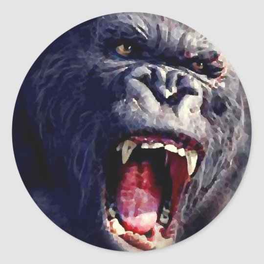 Screaming Gorilla Classic Round Sticker