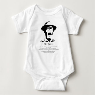 screaming man with definition baby bodysuit