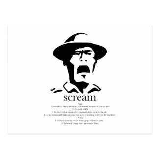 screaming man with definition postcard