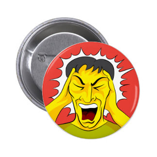 Screaming Panic Man Cartoon 2 Inch Round Button