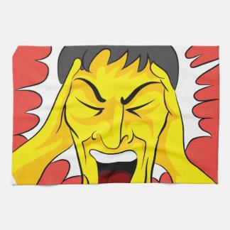 Screaming Panic Man Cartoon Hand Towels