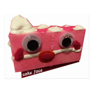 screaming pink lady cake face with logo postcard