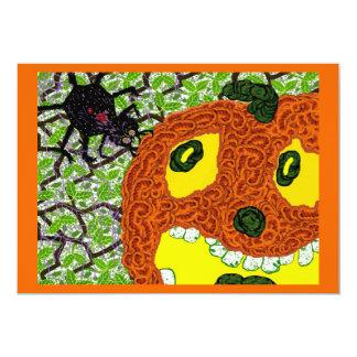 SCREAMING PUMPKIN n SPIDER HALLOWEEN INVITATIONS