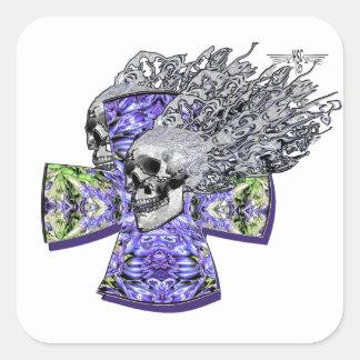 screaming skull 88 square sticker