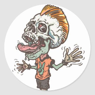 Screaming Skull Boy Classic Round Sticker