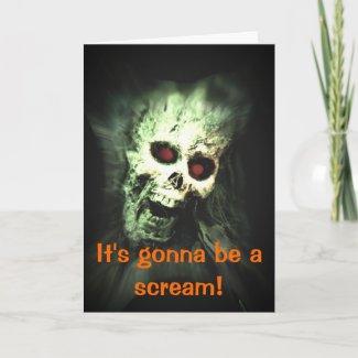 Screaming Skull Halloween Invitation