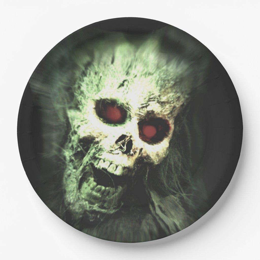 Screaming Skull Halloween Paper Plate