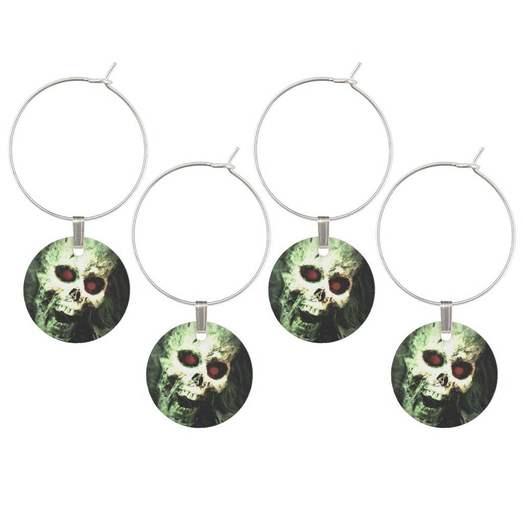 Screaming Skull Halloween Wine Charm