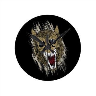 Screaming Werewolf Round Clock