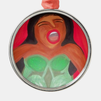 Screaming woman round metal christmas ornament
