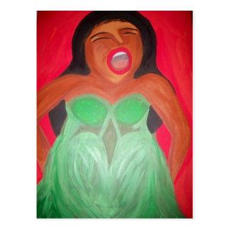Screaming woman postcard