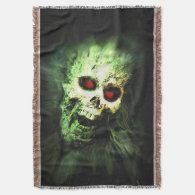 Screaming Zombie Skull Halloween Throw Blanket