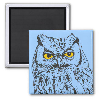 Screech Owl 2 Inch Square Magnet
