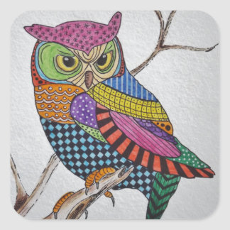 Screech Owl bold color Square Sticker