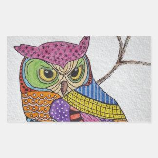 Screech Owl bold color Rectangle Sticker