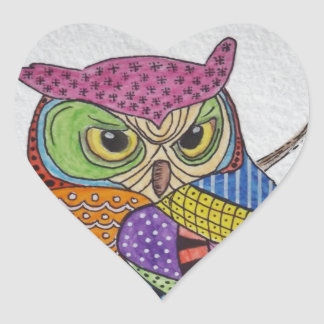 Screech Owl bold color Heart Sticker