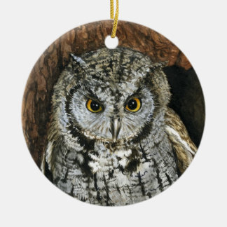 Screech Owl Christmas Ornament-watercolor painting Ceramic Ornament